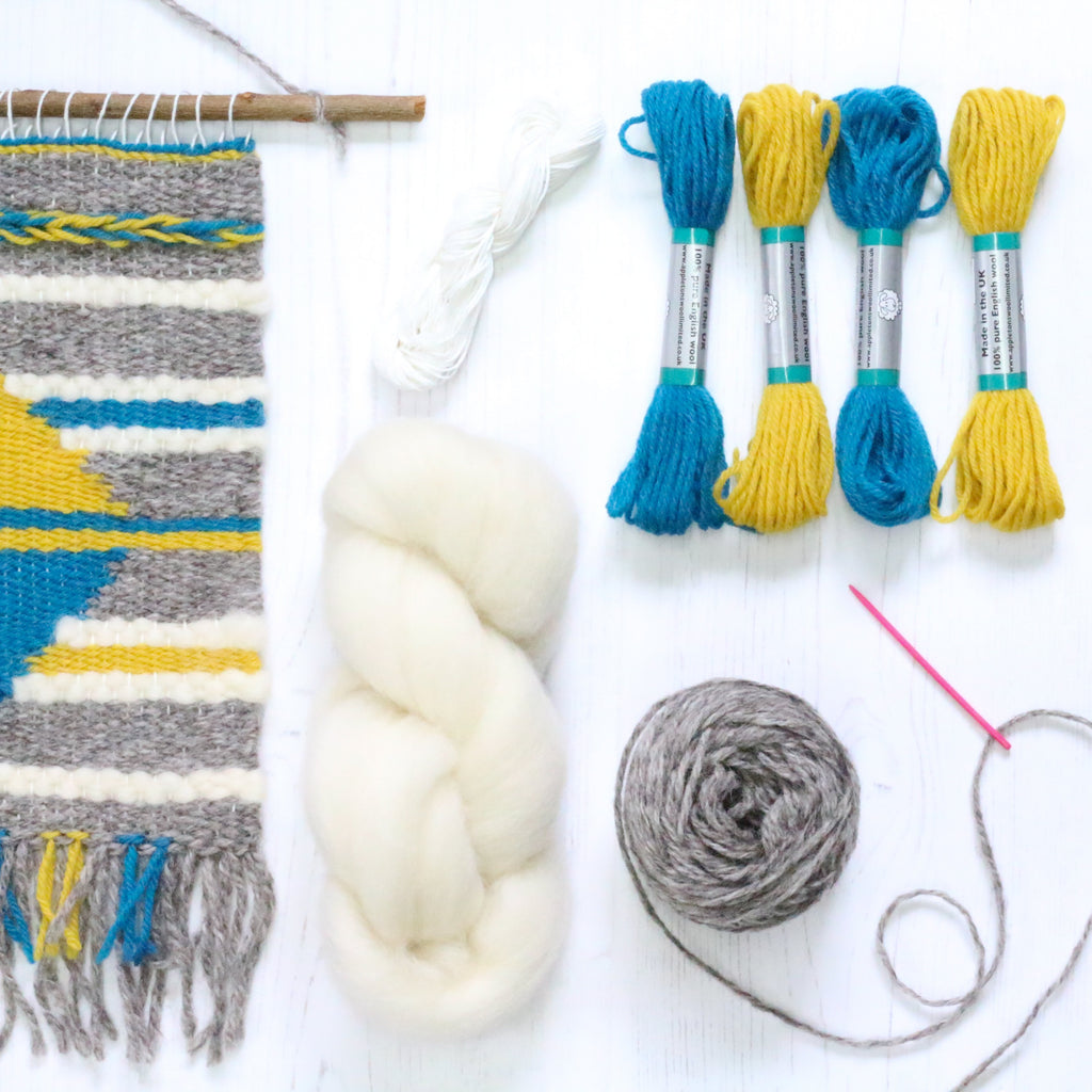 Weaving inspiration teal and mustard supply kit