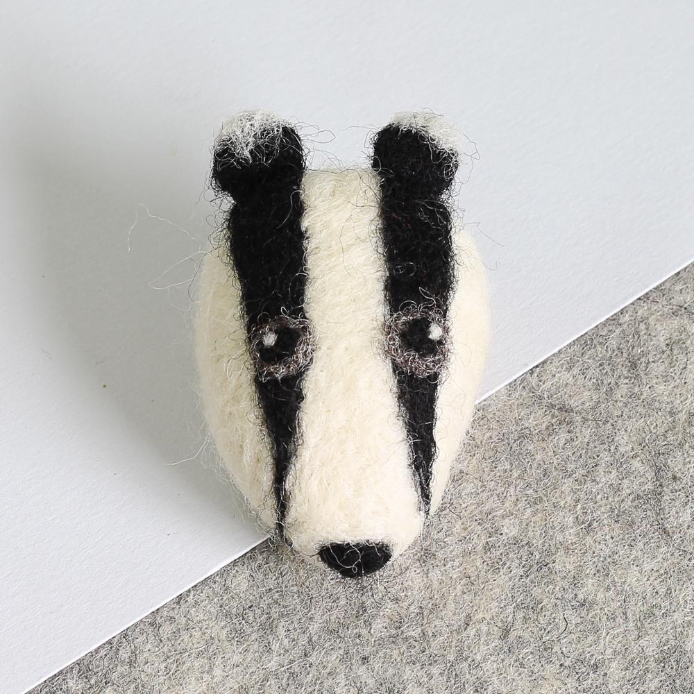 Badger Brooch Needle Felting Kit