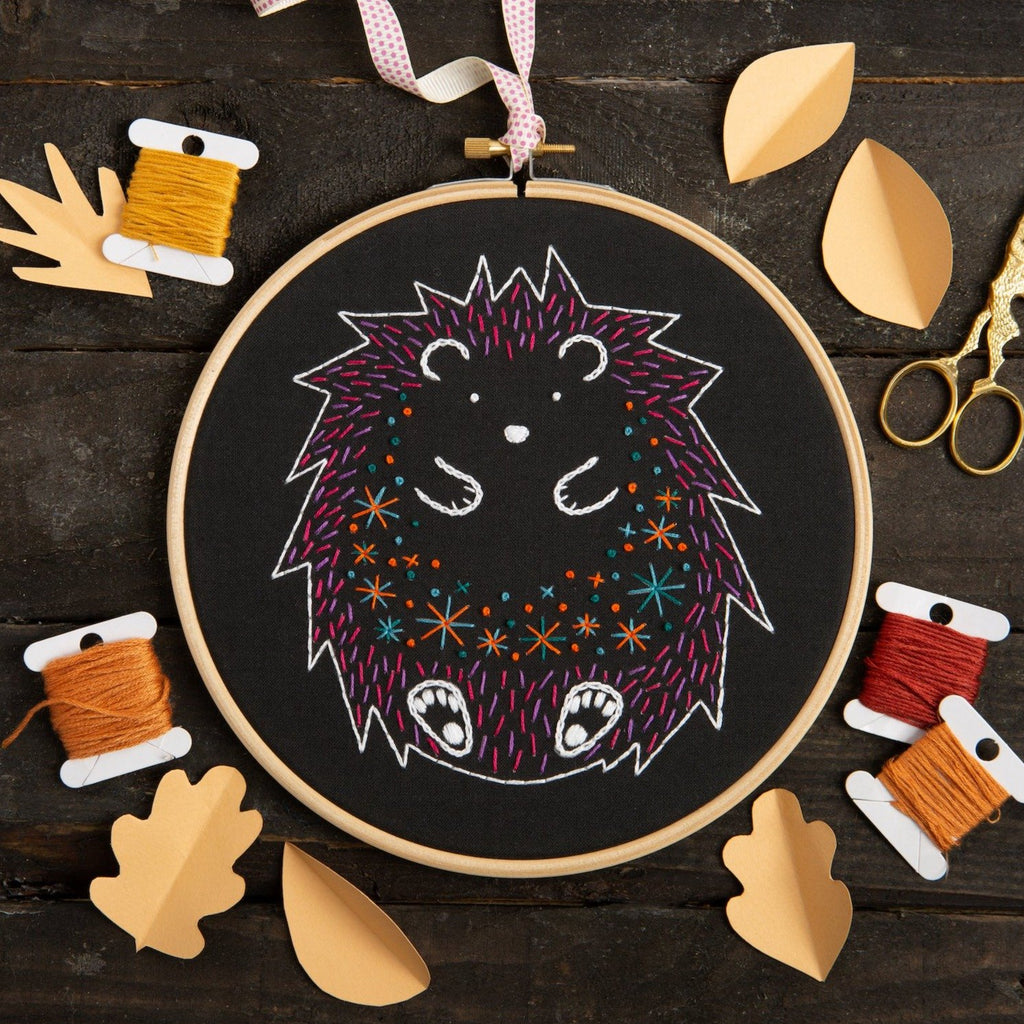 Black Hedgehog Embroidery Kit