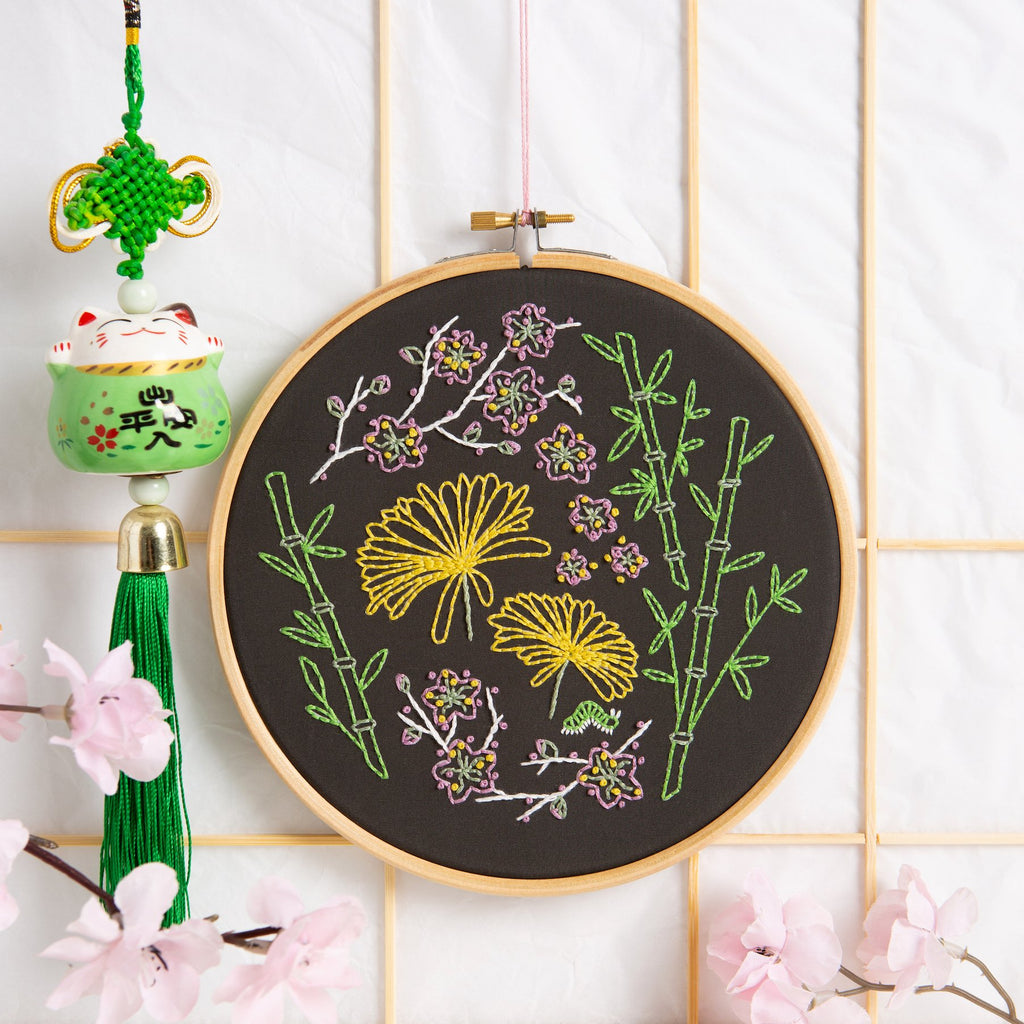 Black Japanese Garden Embroidery Kit