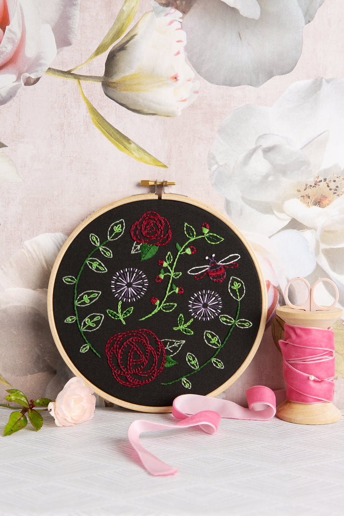 Black Rose Garden Embroidery Kit