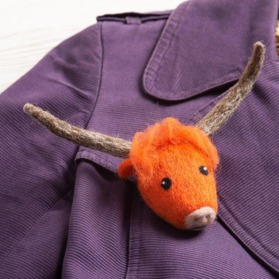 Highland Cow Brooch Needle Felting Kit