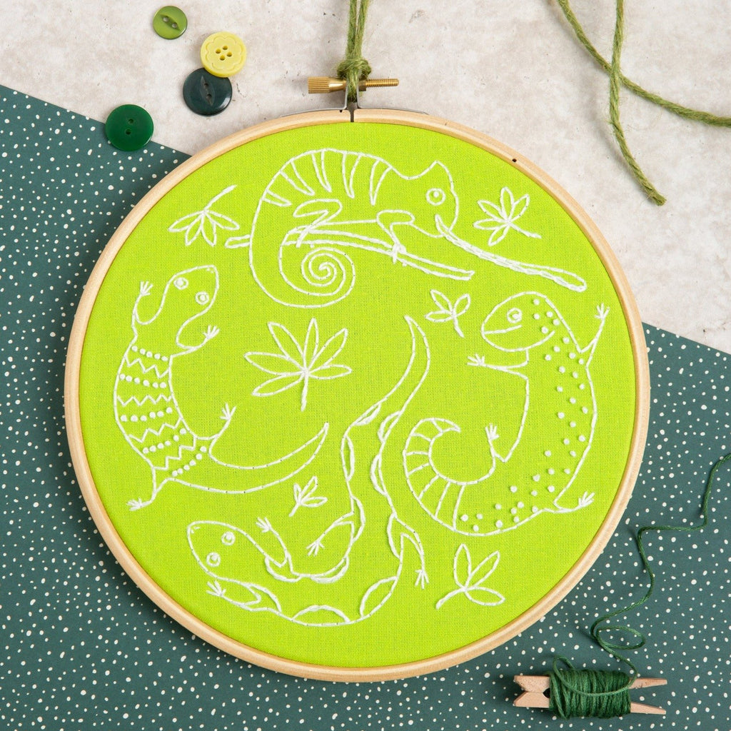 Lazy Lizards Embroidery Kit