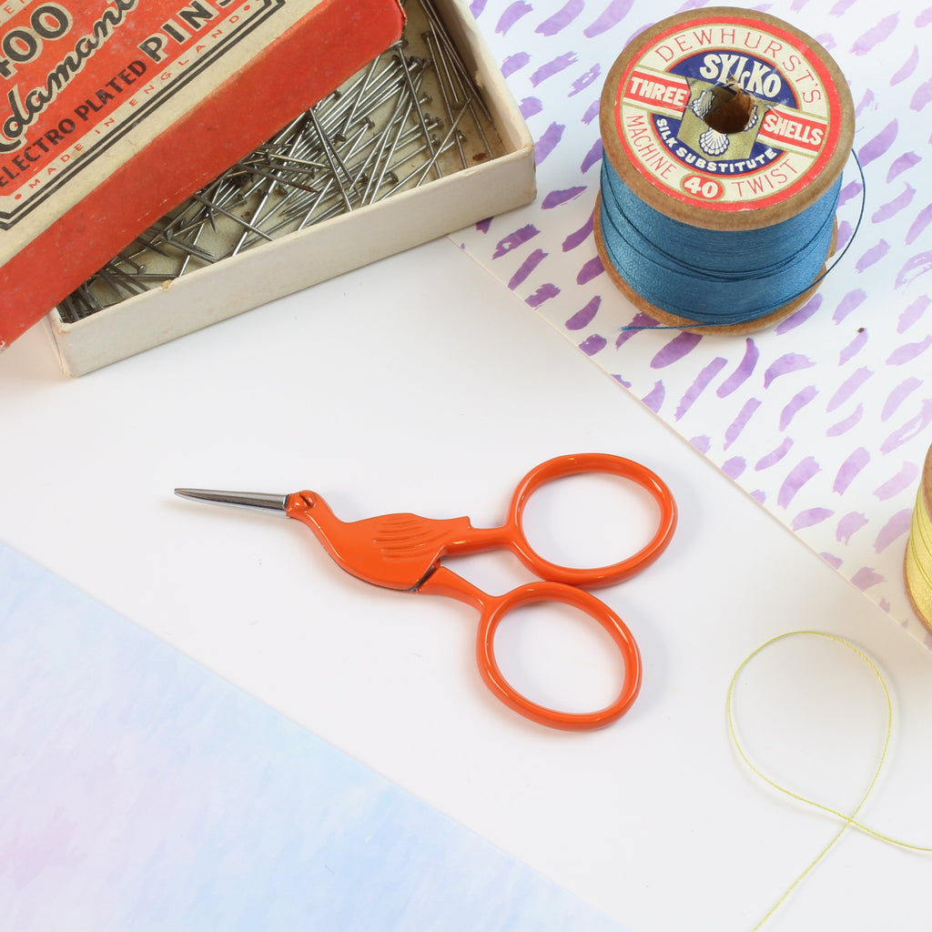 Orange Storklette Embroidery Scissors