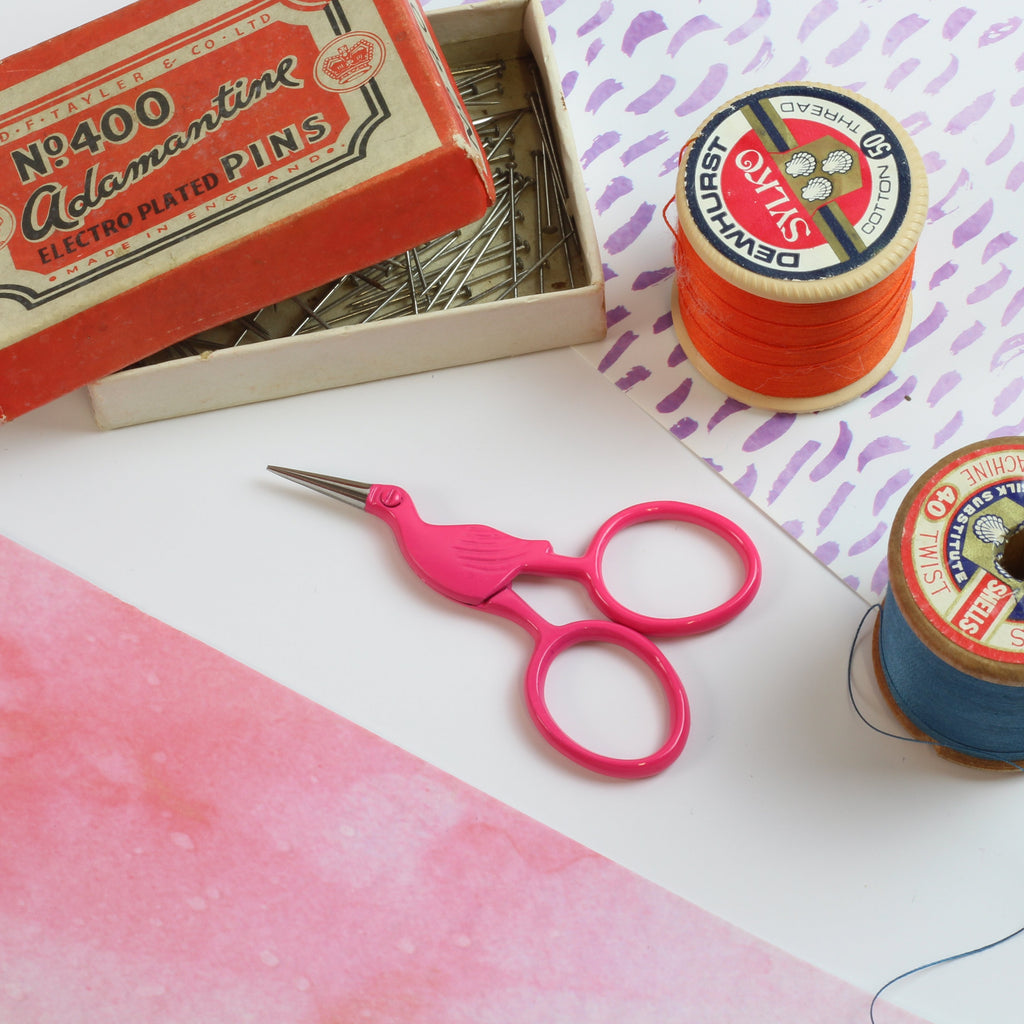 Pink Storklette Embroidery Scissors