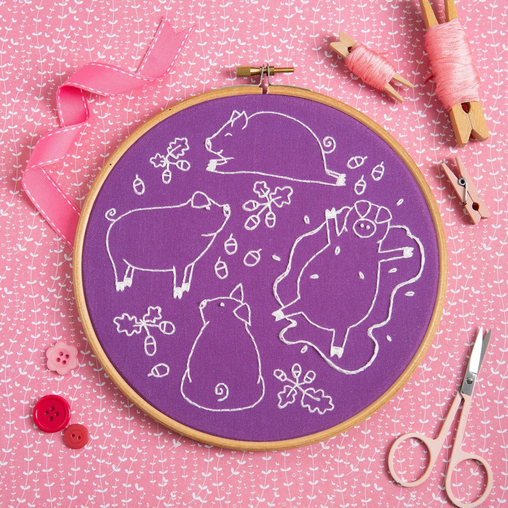 Playful Pigs Embroidery Kit