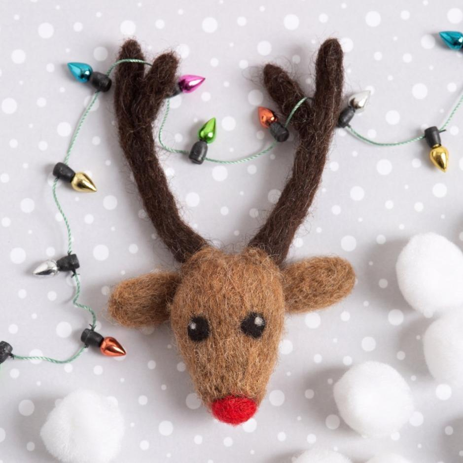 Rudolph Brooch Needle Felting Kit