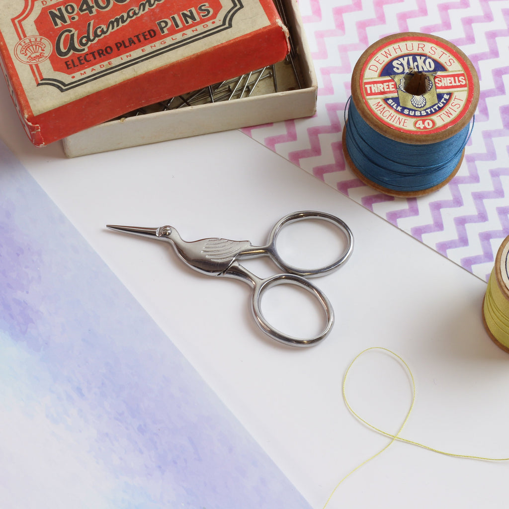 Silver Storklette Embroidery Scissors