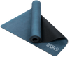 Partially rolled up view of a soild blue suede yoga mat. The mat is folded so that both sides are seen.