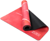 Partially rolled up view of a dark red watercolor suede yoga mat with eight hand-drawn white lines that indicate placement of hands and feet along with a white mandala surrounding the ZURA brand logo in the center. The mat is folded so that both sides are seen.