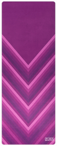 A chevron pattern yoga mat striped with varying shades of pink and purple.