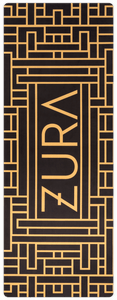 A black yoga mat with a gold geometric rectangular pattern surrounding the ZURA brand logo.
