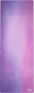 A purple and pink vignette suede yoga mat.