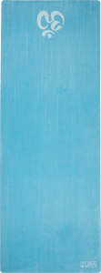 A turquoise suede yoga mat with a white om symbol at the bottom edge.