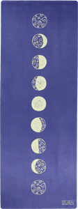 A purple suede suede yoga mat adorned with hand-drawn yellow moon phases lined up across the vertical center.