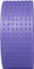 Side view of the surface of a solid purple plastic yoga wheel with even rows of seven raised rubber bumps that cover the surface.