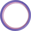 Side view of the open area of a solid purple plastic yoga wheel with even rows of seven raised rubber bumps that cover the surface.