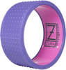 A solid purple plastic yoga wheel with even rows of seven raised rubber bumps that cover the surface. The wheel's interior is pink and features the ZURA brand logo.