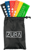 A set of 6 solid color latex yoga bands each featuring the ZURA brand logo in white with resistance levels shown in white via words and white filled circles. Bands range from extra light to extra-extra heavy and colors include green, yellow, orange, red, blue, and black. Shown fanned out inside of a black drawstring carry case.