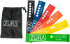 A set of 6 solid color latex yoga bands each featuring the ZURA brand logo in white with resistance levels shown in white via words and white filled circles. Bands range from extra light to extra-extra heavy and colors include green, yellow, orange, red, blue, and black. Shown fanned out on the right side of a black drawstring carry case.