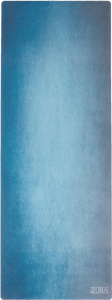 A turquoise vignette suede yoga mat.
