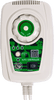 Close up of the white rectangular remote control with green accents. Features a temperature dial with intensity lcd screen, time switch with intervals of 3 hours, 6 hours, and 12 hours, E-wave dial, and rocker power switch.