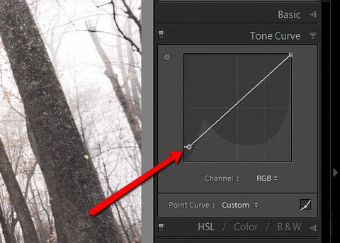 How to Vintage photos: Tone Curve