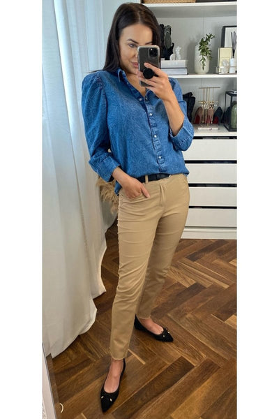Kamarie Denim Shirt - Sarah Alexandra Boutique