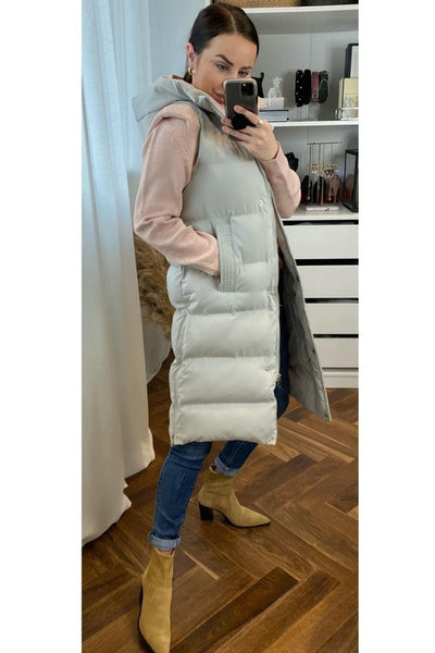Leila Light Grey Gilet - Sarah Alexandra Boutique
