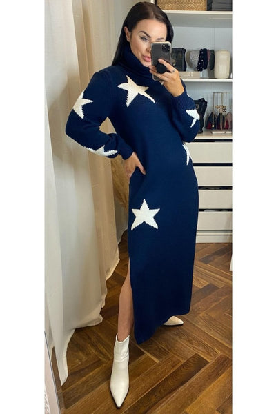 Navy Star Jumper Dress - Sarah Alexandra Boutique