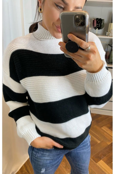Paige black and white Jumper - Sarah Alexandra Boutique