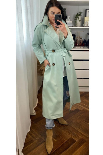 Polly Mint Green Trench - Sarah Alexandra Boutique