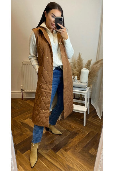 Tan Padded Gilet - Sarah Alexandra Boutique