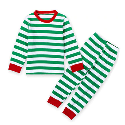 Christmas Kid Pajamas - Green Stripe