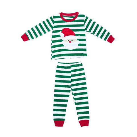 Christmas Kid Pajamas - Santa Green Stripe