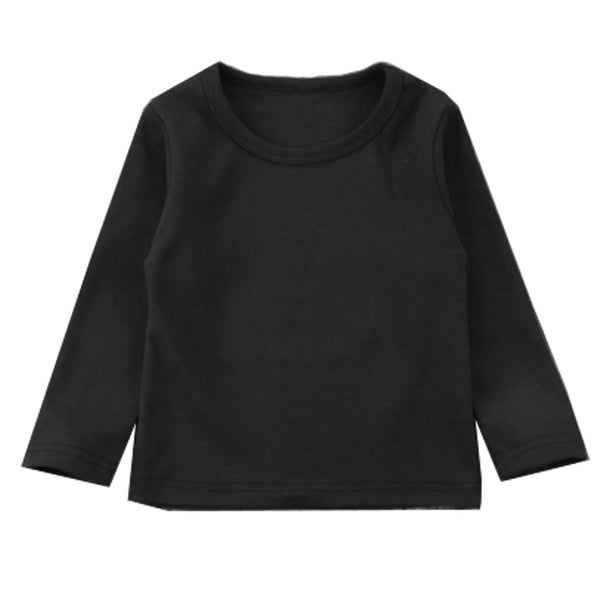 Girl Solid Long Sleeve Tops - Black Sweater