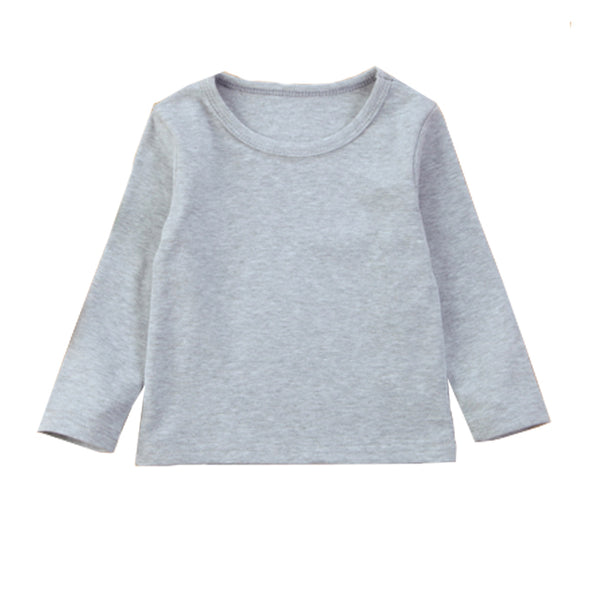 Girl Solid Long Sleeve Tops - Gray Sweater