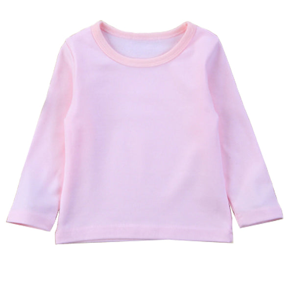Girl Solid Long Sleeve Tops - Pink Sweater