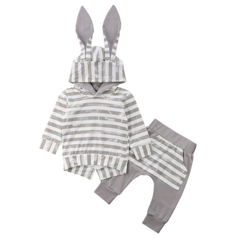 Hooded Baby Outfits - Bunny Gray