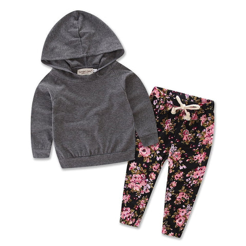 Hooded Baby Outfits - Gray Floral