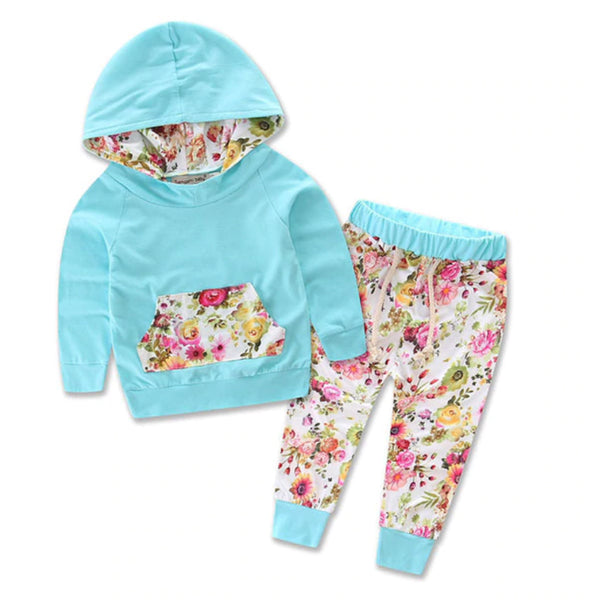 Hooded Baby Outfits - Blue Floral