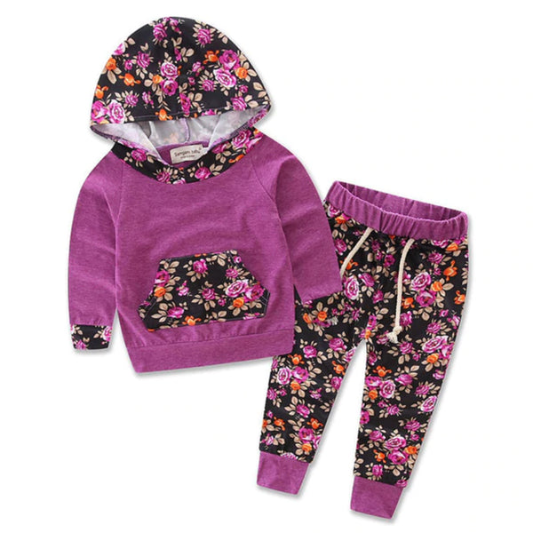 Hooded Baby Outfits - Purple Floral