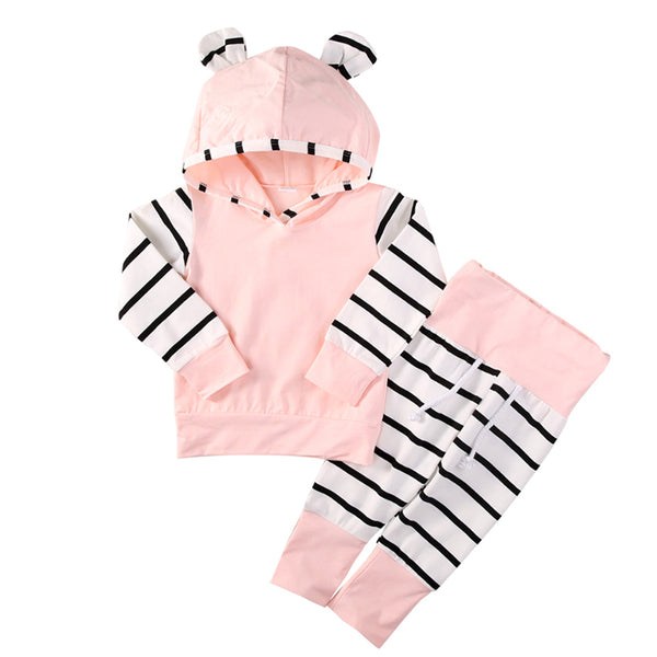Hooded Baby Outfits - Pink Stripe