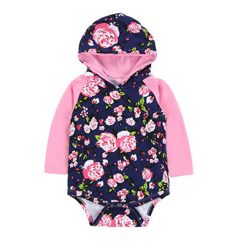 Hooded Baby Tops - Blush Floral