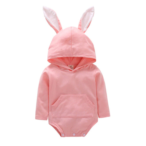 Hooded Baby Tops - Bunny Pink