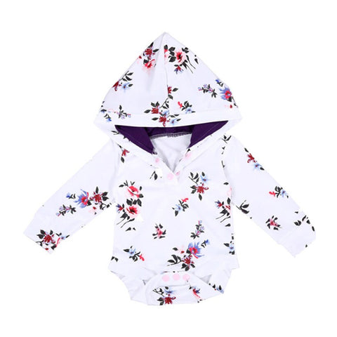 Hooded Baby Tops - White Posy