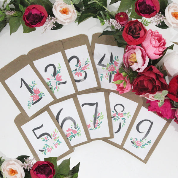 Watercolor Travel Bag Numbers | Digital Printable