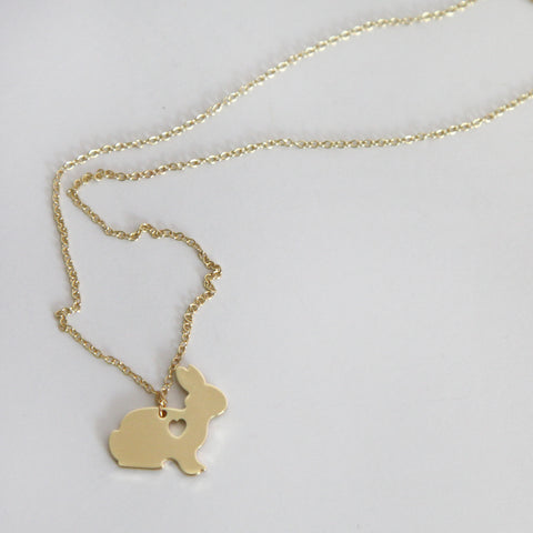 Bunny with a Heart Cut Out Necklace