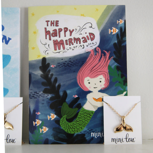 The Happy Mermaid Coloring Book and Mermaid Necklace Gift Set