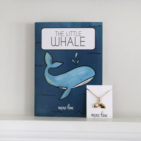The Little Whale Coloring Book and Whale Tail Necklace Gift Set